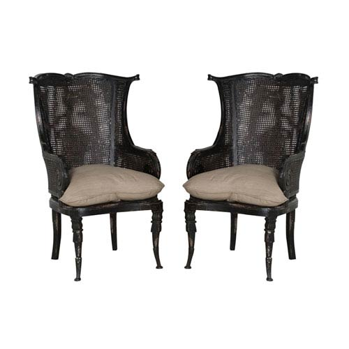 Merveilleux GuildMaster Handpainted Caned Black Wingback Chairs   Set Of Two