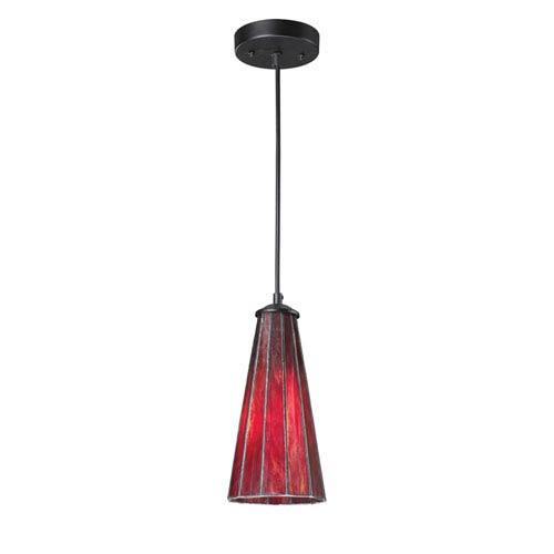 Elk Lighting Lumino Inferno Red and Matte Black One Light Mini Pendant