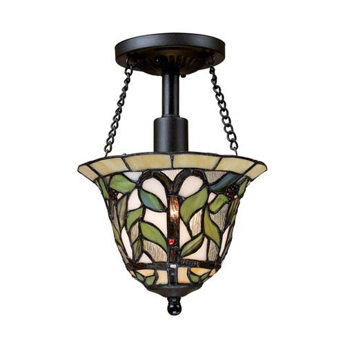 Elk Lighting Latham Tiffany Bronze 11-Inch One Light Semi-Flush Mount Fixture