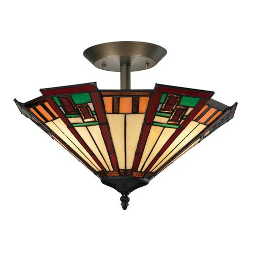 Elk Lighting Oak Bridge Tiffany Bronze Three Light Semi-Flush Mount Fixture