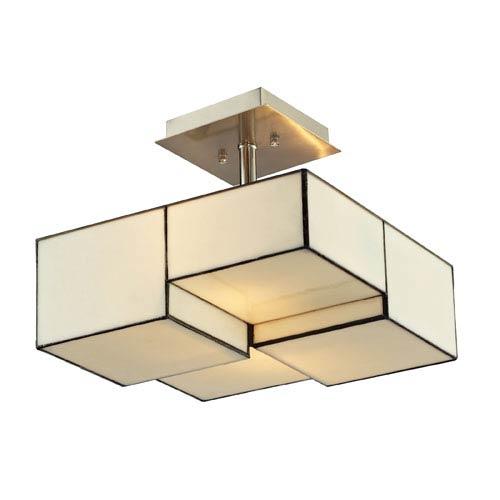 Elk Lighting Cubist Brushed Nickel 11-Inch Two Light Semi-Flush Mount Fixture
