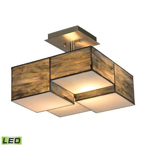 Cubist Brushed Nickel LED Two Light Semi-Flush Mount Fixture