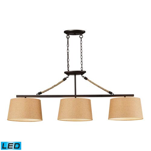 Elk Lighting Natural Rope Aged Bronze LED Three Light Billiard and Island