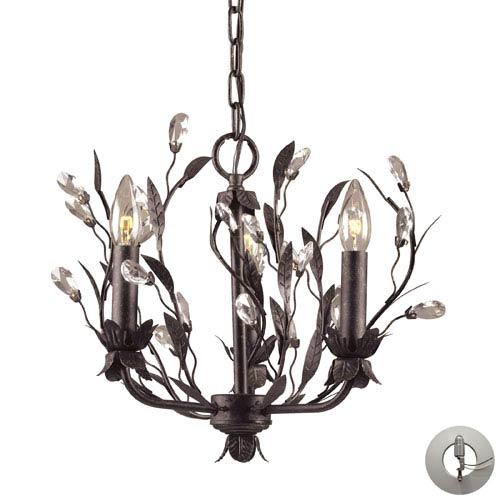 Elk Lighting Circeo Three Light Chandelier In Deep Rust And Crystal Droplets w/ An Adapter Kit