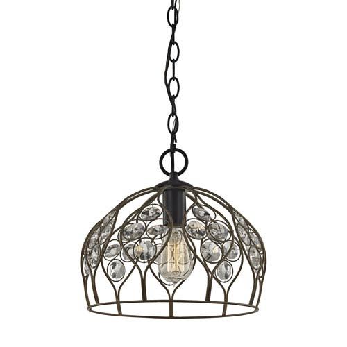 Crystal Web Bronze Gold and Matte Black 12-Inch One-Light Pendant