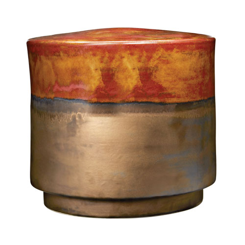Coffee and Burnt Gold Crackle Stool