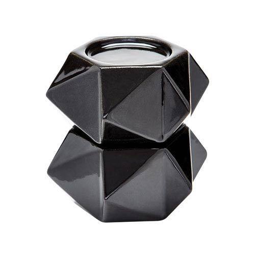 Ceramic Star Black Candle Holders - Set of Two