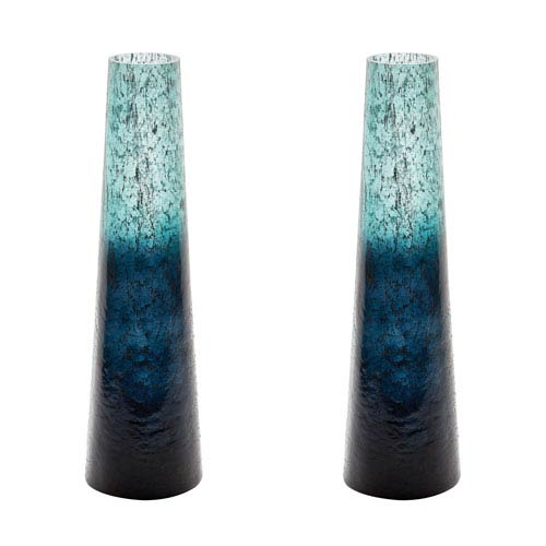 Ombre Emerald Snorkel Vases - Set of Two