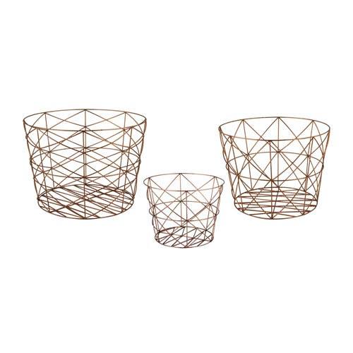 Nested Geometric Copper Baskets - Set of Three