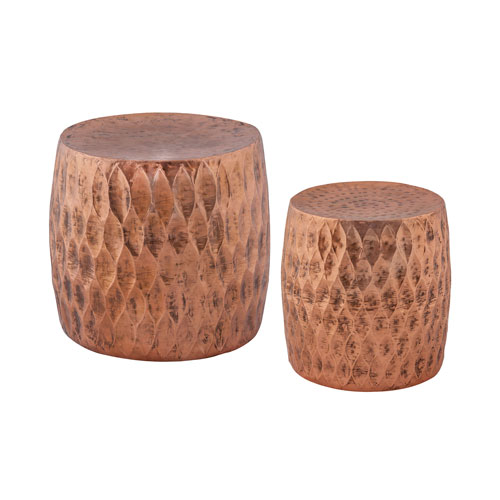 Djembe Copper Stool - Set of Two
