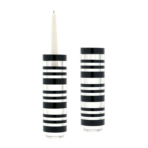 Tuxedo Crystal 10-Inch Candle Holder - Set of Two