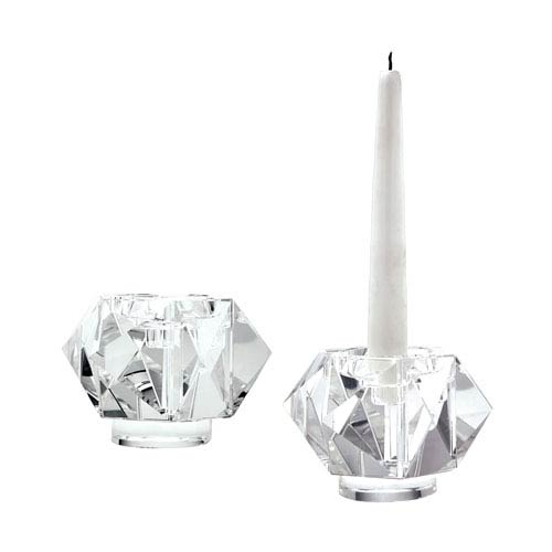 Faceted Star Three-Inch Candle Holders - Set of Two