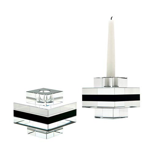 Tuxedo Crystal Three-Inch Square Pedestal Candle Holder