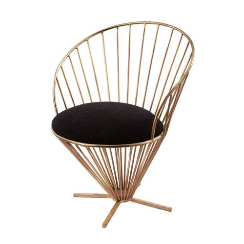 Iron Taper Gold and Black Wire Chair