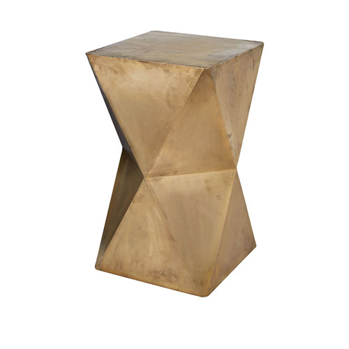 Faceted Gold Stool with Brass Cladding