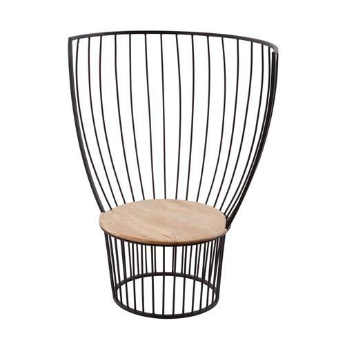 Teak and Metal Bronze Carousel Chair