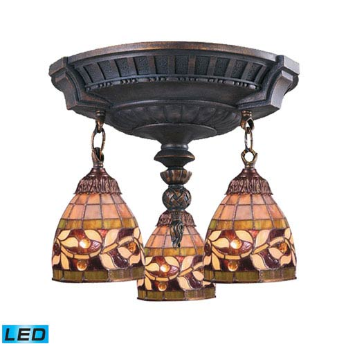 Elk Lighting Mix-N-Match Aged Walnut 13-Inch Replaceable LED Three Light Semi-Flush Mount Fixture
