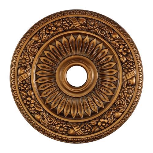 Floral Wreath Antique Bronze 24-Inch Ceiling Medallion