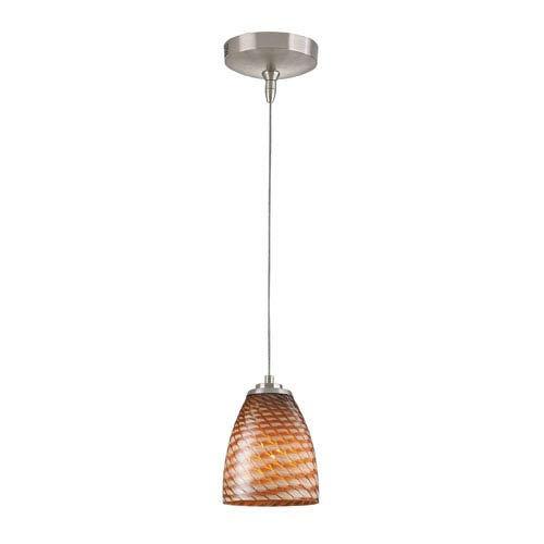 Elk Lighting Low Voltage Brushed Nickel One Light Mini Pendant with Cocoa Glass