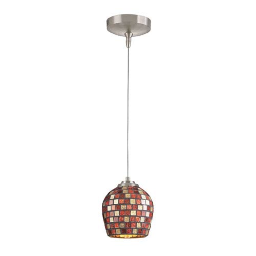 Elk Lighting Low Voltage Brushed Nickel One Light Mini Pendant with Multi Fusion Glass