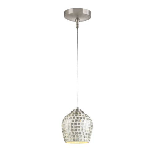Elk Lighting Low Voltage Brushed Nickel One Light Mini Pendant with Silver Glass
