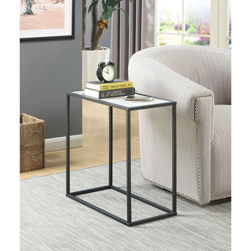 Convenience Concepts Gold Coast Faux Marble Chairside Table with Black Base
