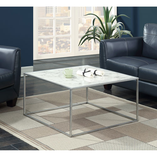 Marble And Silver Coffee Table.Convenience Concepts Gold Coast Faux Marble Coffee Table With Silver Base