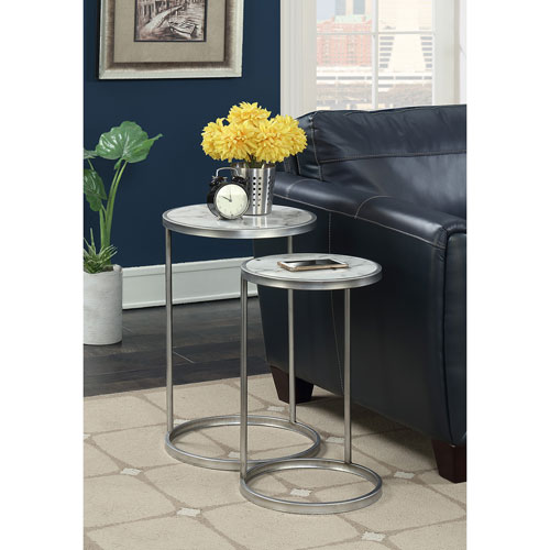 Convenience Concepts Gold Coast Faux Marble Nesting End Tables with Silver Base