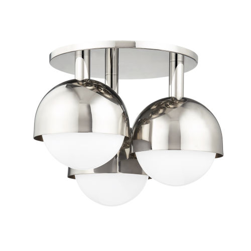 Foster Polished Nickel Three-Light Semi-Flush Mount with Opal Glass