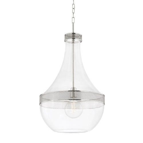 Hagen Polished Nickel One-Light Pendant with Clear Glass