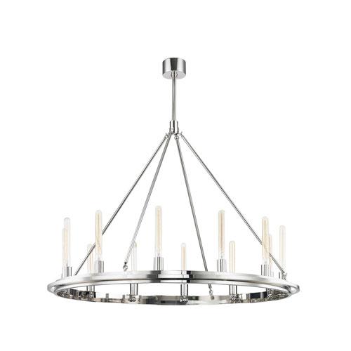 Hudson Valley Chambers Polished Nickel 12-Light Pendant