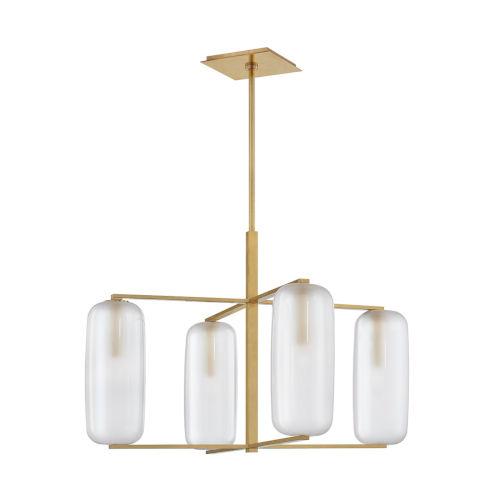 Pebble Aged Brass Four-Light Chandelier