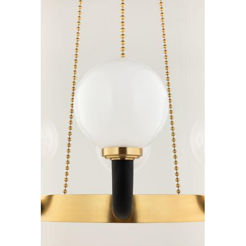 Werner Aged Brass and Black 12-Light Pendant