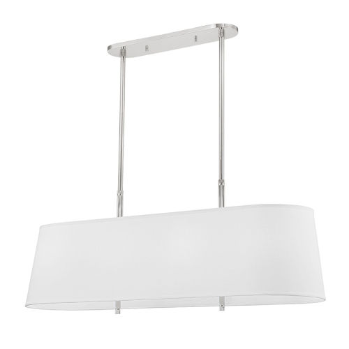 Bowery Polished Nickel Eight-Light Pendant with White Belgian Linen Shade