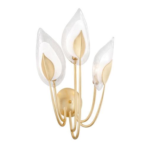 Blossom Gold Leaf Three-Light Wall Sconce