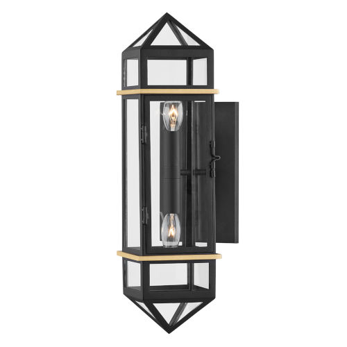 Bedford Hills Aged Brass Black Two-Light Wall Sconce