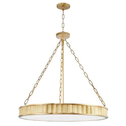 Middlebury Aged Brass Eight-Light Chandelier with Opal Glass