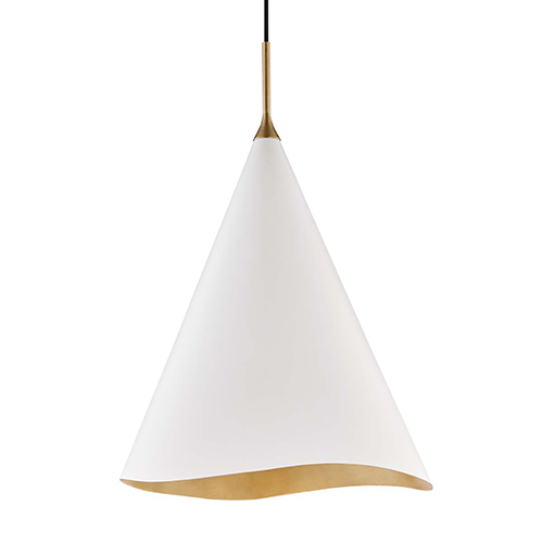 Martini Gold Leaf and White 18-Inch One-Light Pendant