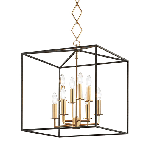 Richie Aged Brass and Textured Black Eight-Light Pendant