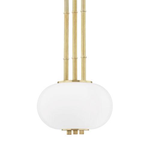 Palisade Aged Brass One-Light Mini Pendant with Opal Matte Glass Shade