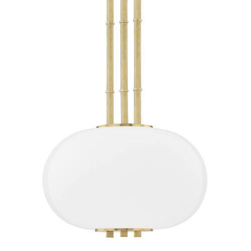 Palisade Aged Brass One-Light Pendant with Opal Matte Glass Shade