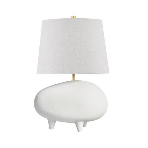 Tiptoe Aged Brass Matte White Cream 13-Inch One-Light Table Lamp