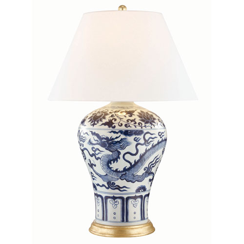 Plutarch Aged Brass Blue and White One-Light Table Lamp