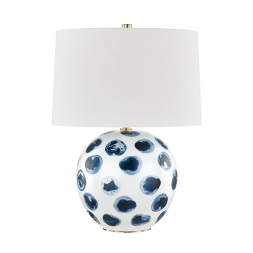 Blue Point White and Blue Dots One-Light Accent Table Lamp