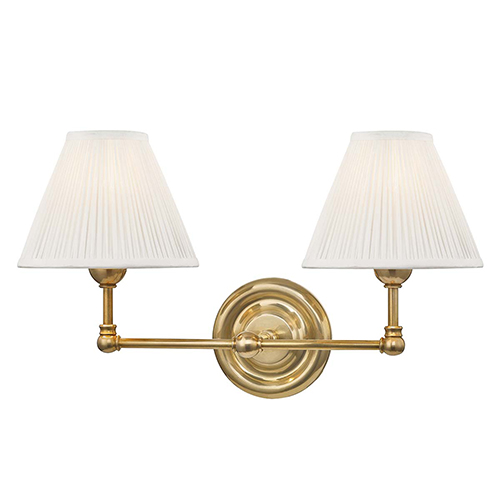 Classic No.1 Gold and Off White Two-Light Wall Sconce