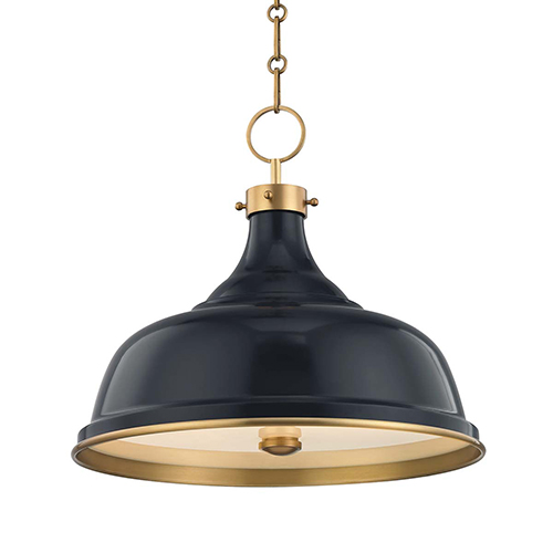 Painted No.1 Gold and Blue Three-Light Chandelier