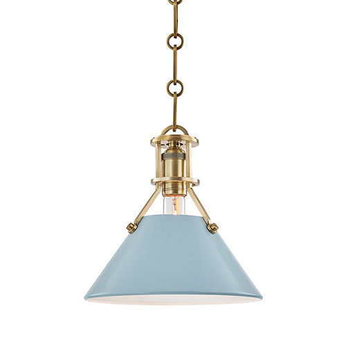 Painted No.2 Gold and Blue One-Light 10-Inch Mini Pendant