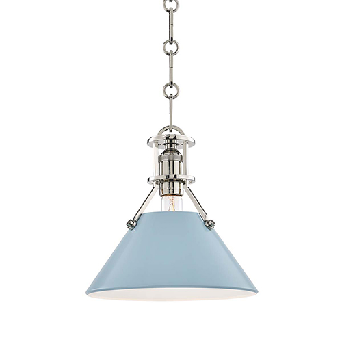 Painted No.2 Gray and Blue One-Light 10-Inch Mini Pendant
