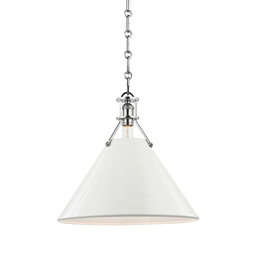 Painted No.2 Gray and Off White One-Light Pendant