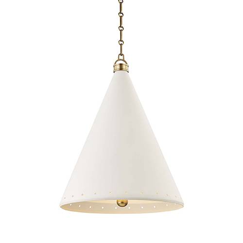 Plaster No.1 Gold and White Two-Light 20-Inch Pendant